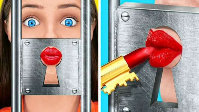 FUNNY WEIRD WAYS TO SNEAK MAKEUP INTO HOME JAIL || Pop IT Hacks! Color Challenges By 123 GO! TRENDS