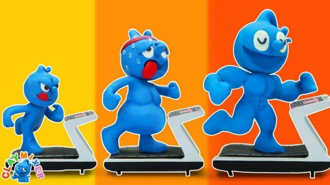 TINY'S PERFECT BODY – Funny Gym Fail Situation | Funny Cartoon | Clay Mixer Cartoon